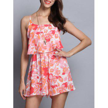 Sweet Spaghetti Strap Overlay Romper For Women