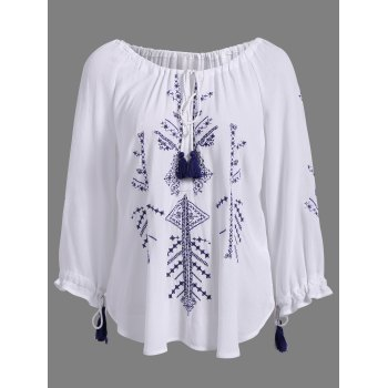 Stylish Round Neck 3/4 Sleeve Embroidered Lace-Up Women's Blouse