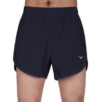 Buy Zipper Pockets Elastic Waist Quick-Dry Loose-Fitting Spliced Men's Shorts DEEP BLUE