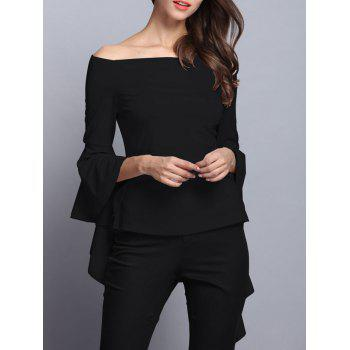 Stylish Off-The-Shoulder Trumpet Sleeve Blouse For Women