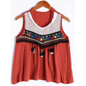 Ethnic Style Women's V-Neck Tassel Openwork Sleeveless Top