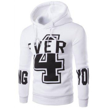 Preppy Drawstring Hooded Letters Number Print Solid Color Long Sleeves Men's Fitted Hoodie