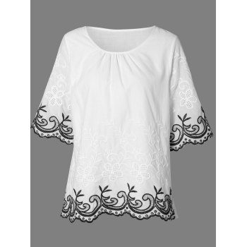 Jewel Neck 3 4 Sleeve Embroidery Blouse
