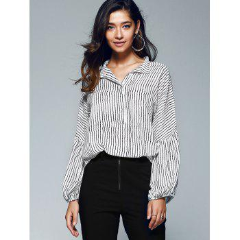 Lantern Sleeve Pinstriped Blouse - STRIPE XL
