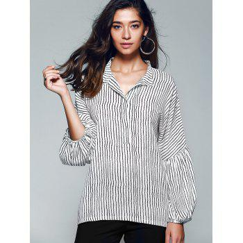 Lantern Sleeve Pinstriped Blouse