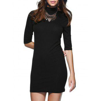 Col rond manches 1/2 Skinny Sweater Dress