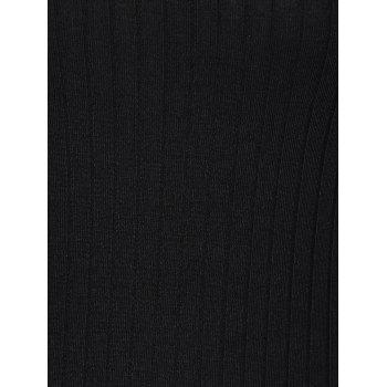 Col rond manches 1/2 Skinny Sweater Dress - Noir S