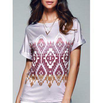 Geometrical Print Short Sleeve Jewel Neck T-Shirt