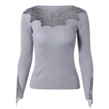 Stylish See-Through Beaded Ribbed Knitwear For Women