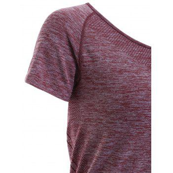 Raglan Short Sleeve Sport Running Gym T-Shirt - DARK RED M