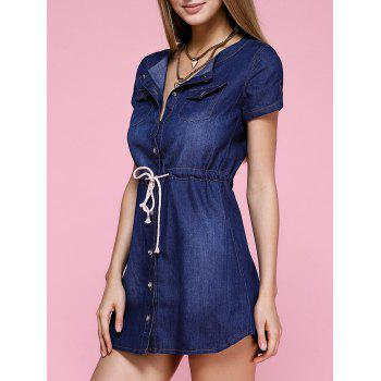 Casual Drawstring Distressed Denim Dress - BLUE L