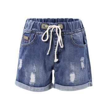 Drawstring Denim Rolled Up Shorts