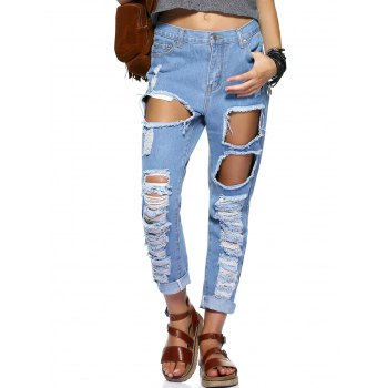 Buy Stylish Women's Bleach Wash Ripped Jeans BLUE