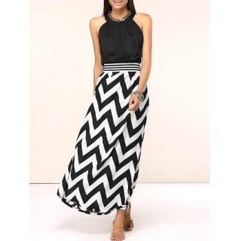 Chic Sleeveless Zig Zag Spliced Women's Dress