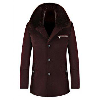 Buy Elegant Faux Fur Collar Single Breasted Thickened Wool Overcoat Men WINE RED