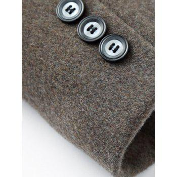 Elegant Single Breasted Stand Collar Wool Overcoat For Men - GRAY L