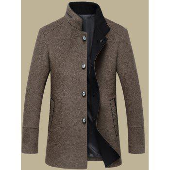 Elegant Single Breasted Stand Collar Wool Overcoat For Men