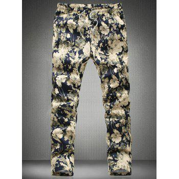 Stylish Floral Printed Drawstring Waistband Casual Pants For Men
