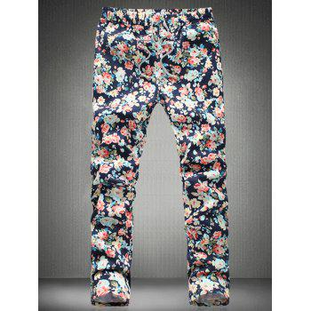 Stylish Tiny Flower Printed Drawstring Waistband Casual Pants For Men