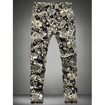 Chic Floral Printed Drawstring Waistband Casual Pants For Men