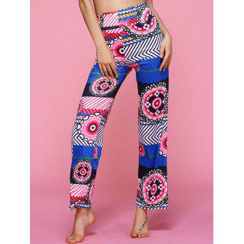 High Waisted Geometric Ethic Print Pants