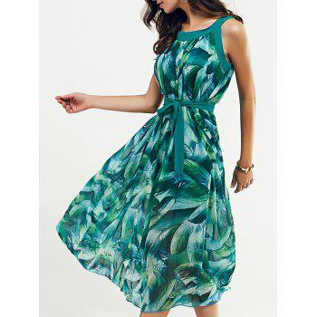 Scoop Neck Feather Print Belted Dress