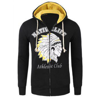Casual Zipper Flying Indian Print Long Sleeves Hoodies For Men