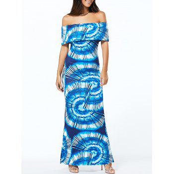 Flounce Tie Dye Maxi Off The Shoulder Dress