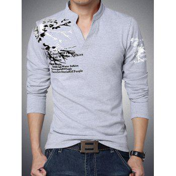 Stylish Letter Printed Stand Collar Long Sleeve Tee For Men