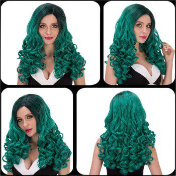 Vogue Women's Long Wavy Side Parting Black Mixed Green Cosplay Lolita Synthetic Wig