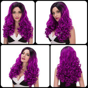 Buy Charming Women's Long Wavy Side Parting Black Mixed Bright Purple Cosplay Lolita Synthetic Wig COLORMIX