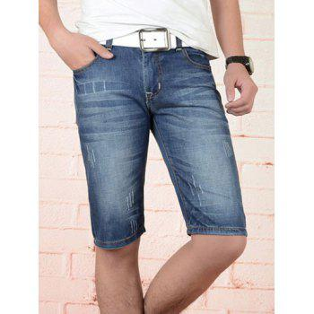 Men's Cat's Whisker Design Zip Fly Straight Legs Denim Shorts