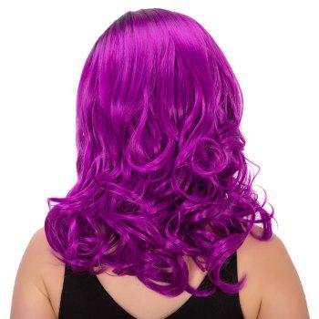 Sparkling Women's Medium Wavy Side Parting Black Mixed Bright Purple Cosplay Lolita Synthetic Wig - COLORMIX