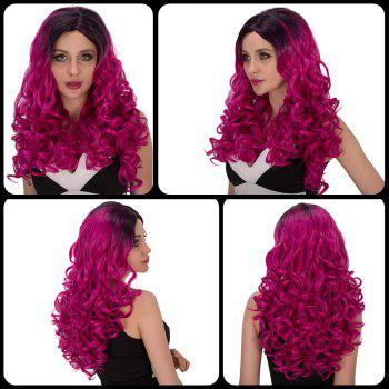 Buy Vogue Women's Long Wavy Side Parting Black Ombre Rose Purple Cosplay Lolita Synthetic Wig COLORMIX