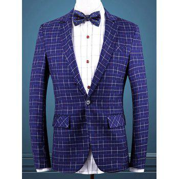Gingham Faux Pocket One Button Men's Blazer