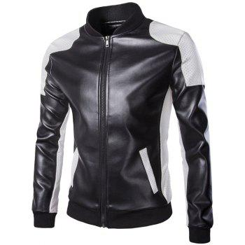 Color Block PU Leather Zippered Stand Collar Men's Jacket