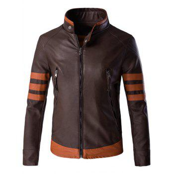 Stripe Spliced Zippered Men's Faux Leather Jacket