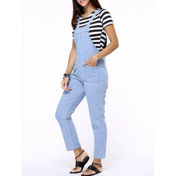 Side Zipper Pockets Design Denim Jumpsuit