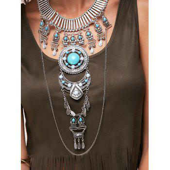 Fake Turquoise Water Drop Sweater Chain - SILVER