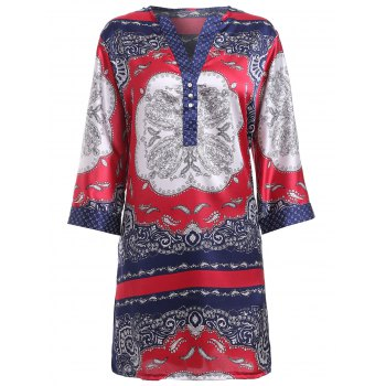 Ethnic Style Print Women's V-Neck Shirt Dress