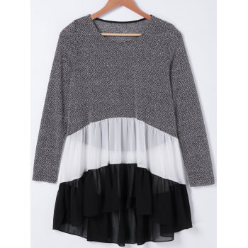 Casual Round Neck Color Block Chiffon Splicing Flounce Long Sleeves T-Shirt For Women
