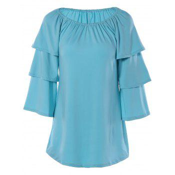 Scoop Neck Tiered Sleeve T-Shirt