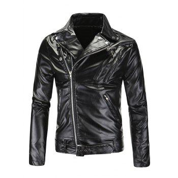 Fashionable Diagonal Zipper Opening Long Sleeves Leather Jacket For Men