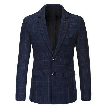Trendy Notched Lapel Collar Classic Checked Blazer For Men