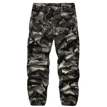 Military Style Beam Feet Camo Print Loose Fit Men's Lace-Up Cargo Pants