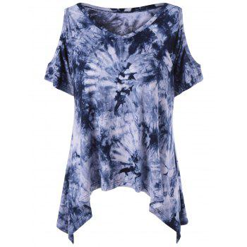 Tie-Dye Cold Shoulder Asymmetrical T-Shirt - COLORMIX M