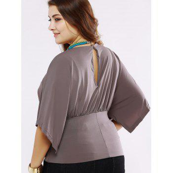 Plus Size Chic Batwing Sleeve Ruched Blouse - DARK KHAKI L