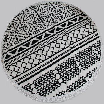 Chic Quality Geometric Pattern Round Beach Throw With Tassels