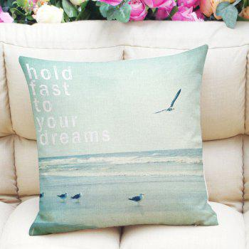 Sweet Home Decor Square Sea Mew Letter Pattern Pillow Case