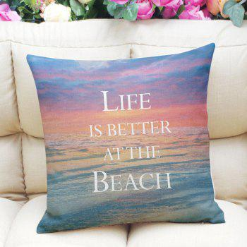Sweet Home Decor Square Sunset Beach Letter Pattern Pillow Case